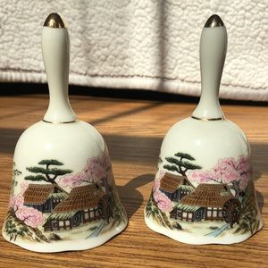 Vintage Japanese Porcelain Bell Set Of 2 Landscape